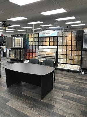Carpet sample racks.